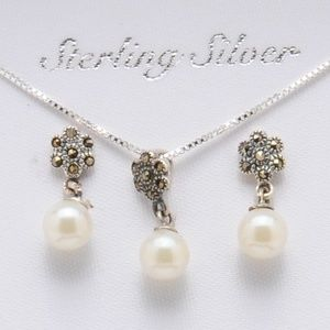 Pearl, Silver Marcasite Necklace & Earring Set